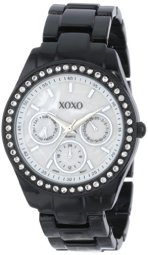 Xoxo women 39 s xo115 black enamel and rhinestone accent bracelet watch xoxo xoxo xo115 for Watches xoxo