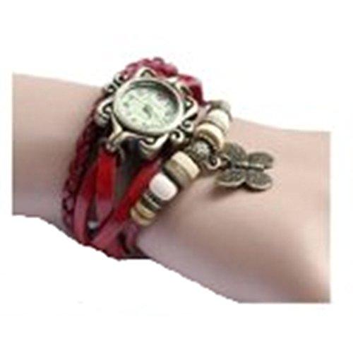 Ankin Luxury New Fashion Butterfly Pendant Quartz Retro Weave Wrap Around Leather Bracelet
