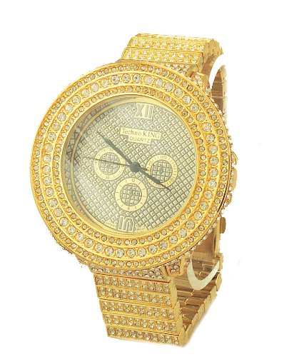 totally iced out pave gold tone hip hop s bling